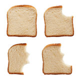 Eating a slice of bread. Stages in eating a slice of bread - isolated Royalty Free Stock Image
