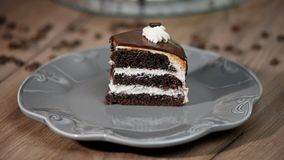 Eating a slice of chocolate cake with folk stock video