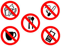 Eating smoking prohibited signs vector illustration