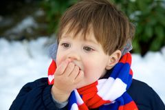Eating snow Stock Images