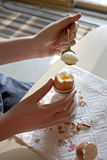 Eating a Soft Boiled Egg Royalty Free Stock Photo