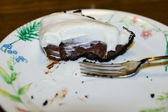 Eating some homemade chocolate pie for desert. Eating some delicious homemade chocolate pie for desert Royalty Free Stock Photos