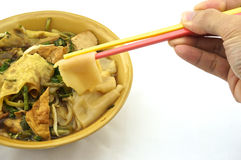 Eating soup white rice noodle. With fried tofu, bean sprouts, morning glory vegetarian for health Royalty Free Stock Photography