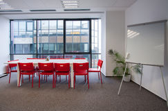 Eating space with table, chairs and whiteboard Royalty Free Stock Photo