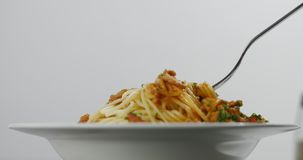 Eating spagetti bolognese with a fork. Fork twisting in succulent hot spaghetti bolognese with chives isolated on white stock footage