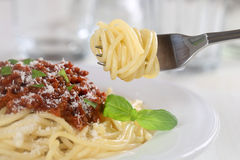 Eating spaghetti Bolognese noodles pasta meal with fork Royalty Free Stock Photo
