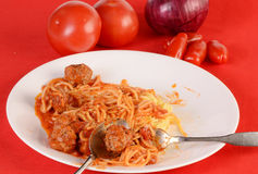 Eating Spaghetti and Meatballs Stock Photo