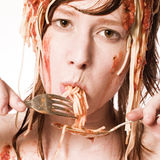 Eating spaghetti of my head royalty free stock image