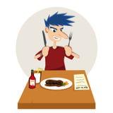 Eating Steak royalty free illustration