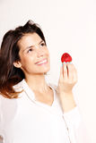 Eating a Strawberry Stock Photography