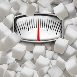 Eating Sugar. Concept as a weight scale made from refined sugary cubes as a dieting fitness and nutrition symbol for the health risk issues of consuming too stock illustration