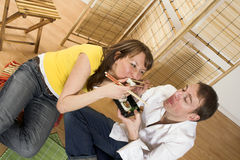 Eating sushi Royalty Free Stock Images