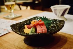 Eating sushi in restaurant of Japan Kyoto stock image