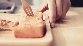 Eating sweet toast. Royalty Free Stock Photo