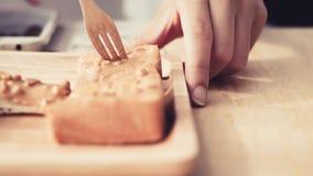 Eating sweet toast. Royalty Free Stock Photo
