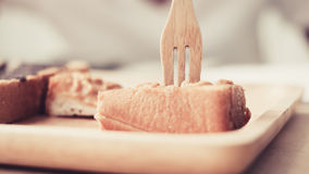 Eating sweet toast. Stock Images