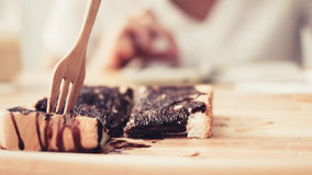 Eating sweet toast. Royalty Free Stock Images