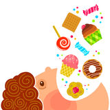 Eating sweets. Cartoon boy eating lots of sweets stock illustration