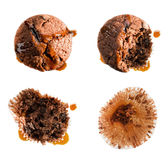 Eating syrup covered muffin in four steps Royalty Free Stock Photo