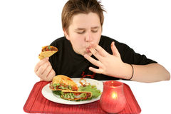 Eating tacos stock photo