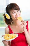 Eating to music Stock Image