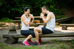 Eating together -  couple after jogging Stock Photo