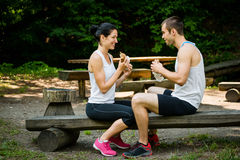Eating together -  couple after jogging Stock Photography