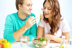 Eating together Royalty Free Stock Images