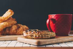 Chocolate Bread and coffee. Eating and traditional breakfast concept royalty free stock images