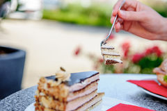 Eating traditional german cake Royalty Free Stock Photo
