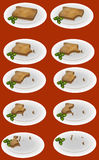 Eating up the toast on the plate Royalty Free Stock Photos