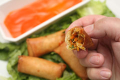 Eating a veg spring roll Royalty Free Stock Photo