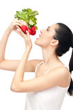 Eating vegetable - concept Royalty Free Stock Image