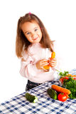 Eating vegetables Royalty Free Stock Photos