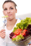 Eating vegetarian salad Stock Photography