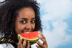 Eating water melons Royalty Free Stock Image