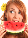 Eating watermelon Stock Photos