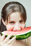 Eating a watermelon Stock Images