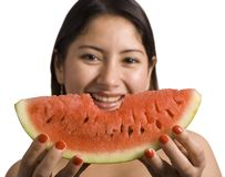 Eating watermelon royalty free stock photos