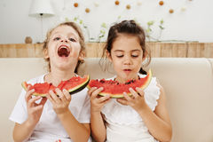 Eating watermelon Royalty Free Stock Image