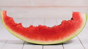 Eating watermelon slice stock video footage