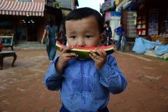 Eating watermelon Royalty Free Stock Photo