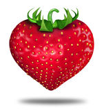 Eating well. Healthy lifestyle symbol represented by a red strawberry in the shape of a heart to show the health concept of eating well with fruits and Royalty Free Stock Photos