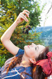 Eating wild fruits Stock Photography
