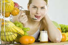 Eating woman Royalty Free Stock Images