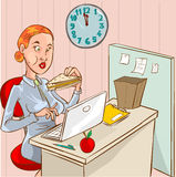 Eating woman in the office Royalty Free Stock Photos