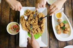 Eating Yam pla duk foo a classic Thai food Stock Image