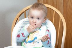 Eating yogurt Royalty Free Stock Photography