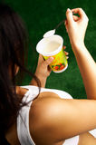 Eating Yogurt Royalty Free Stock Photo