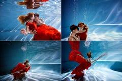 Eau du fond dans la piscine avec de l'eau le plus pur Étreindre affectueux de couples Le sentiment de l'amour et de la proximité  Images stock